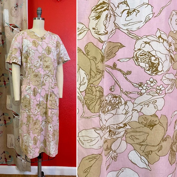 Vintage 1960s House Dress • Pink Rose Print Cotton