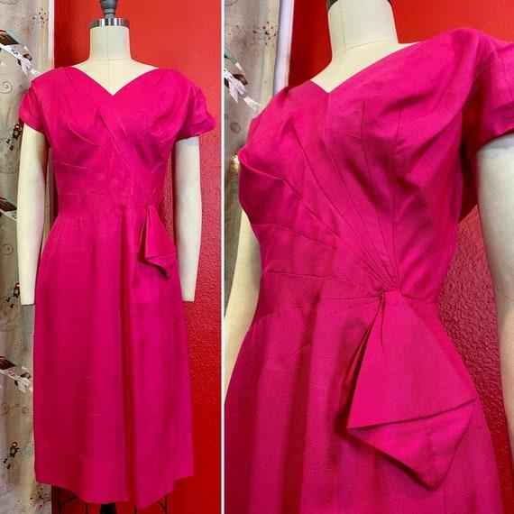 Vintage 1950s Dress • Fuschia Hot Pink Wiggle Dres