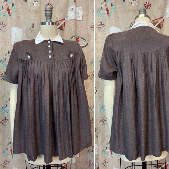 Vintage 1950s Blouse • Maternity Brown Swing Blous