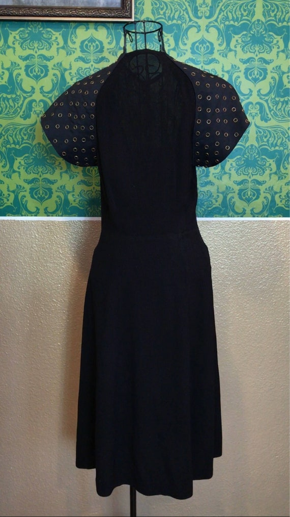 Vintage 1940s Dress • Studded Black Crepe Dress •… - image 9