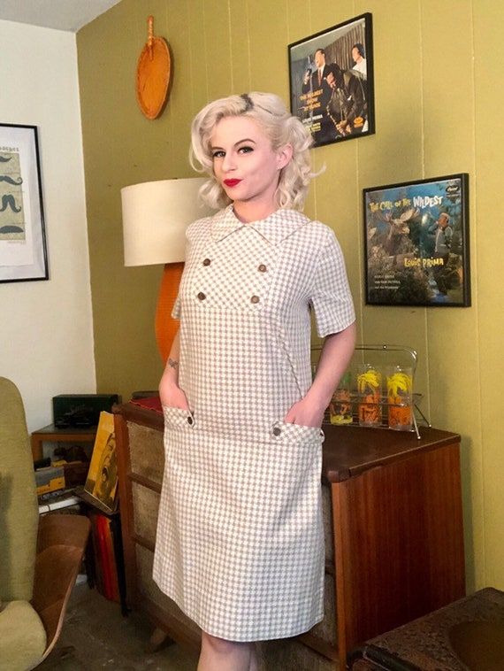 Vintage 1950s Dress • White & Brown Houndstooth D… - image 3