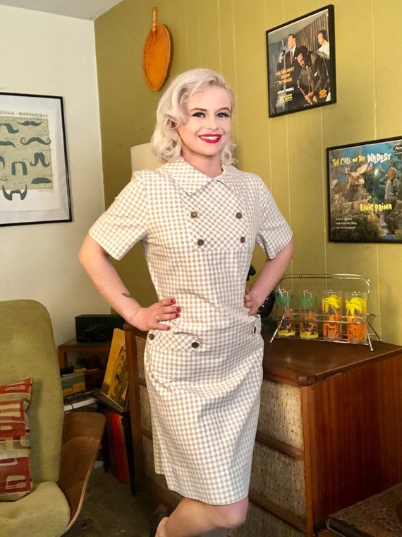 Vintage 1950s Dress • White & Brown Houndstooth D… - image 2