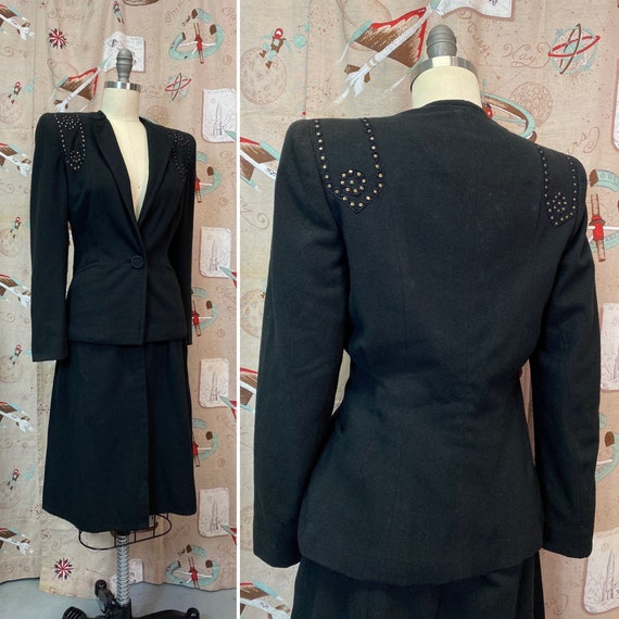 Vintage 1940s Suit • Black Studded Ladies Art Dec… - image 1