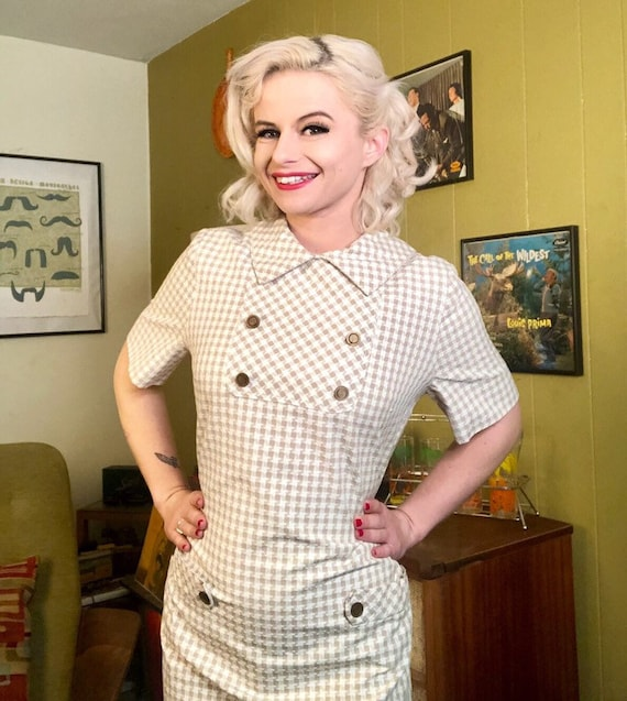 Vintage 1950s Dress • White & Brown Houndstooth D… - image 4