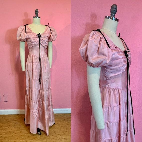 Vintage 1930s Dress • Pink Taffeta Puff Princess S
