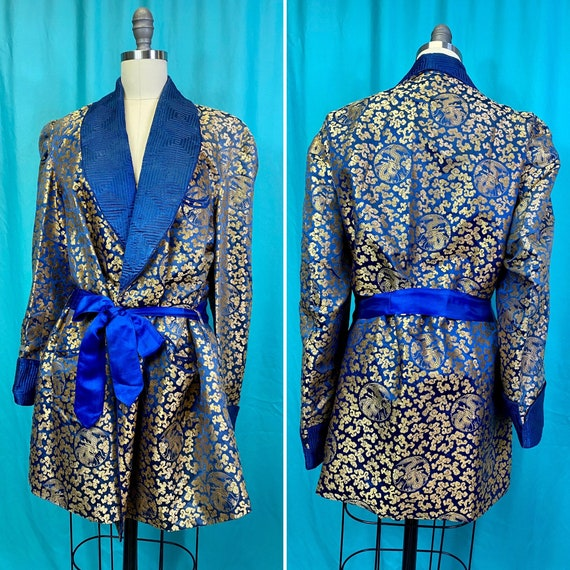 Vintage 1940s 1950s Smoking Jacket • Sapphire Blue
