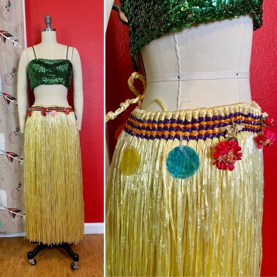 Vintage Hula Dancer Skirt • Vintage Yellow Raffia