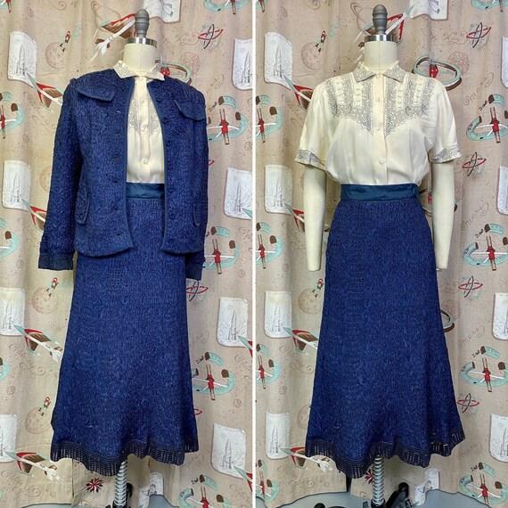 Vintage 1950s Suit • Royal Blue Ribbon Knit Jacket