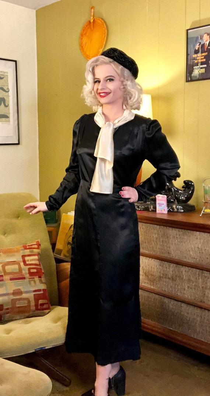Vintage 1920s Dress • Black Silk White Ascot Day … - image 2
