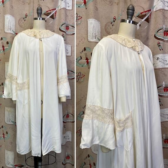 Vintage 1940s Robe • Rayon & Lace Peignoir Jacket