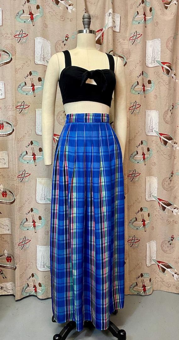 Vintage 1940s Skirt • Plaid Taffeta Blue Floor Le… - image 2