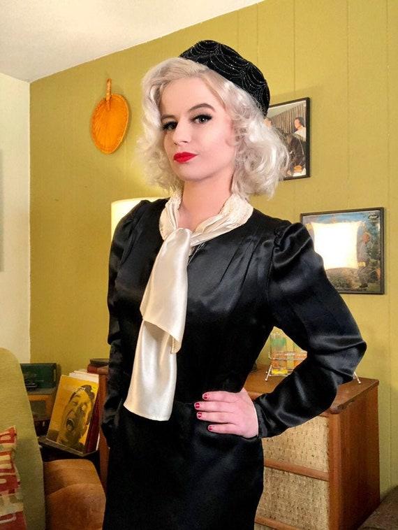 Vintage 1920s Dress • Black Silk White Ascot Day … - image 4