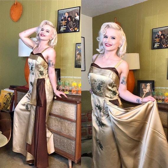 Vintage 1950s Dress • Gold & Brown Liquid Satin Be