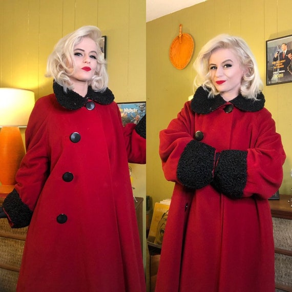 Vintage 1940s Coat • Cherry Red Wool Trimmed Forst