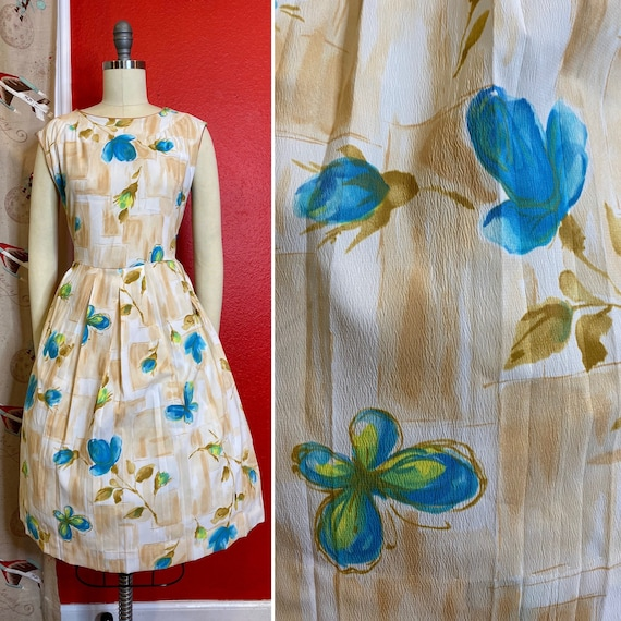 Vintage 1950s 1960s Dress • Butterfly & Blue Rose