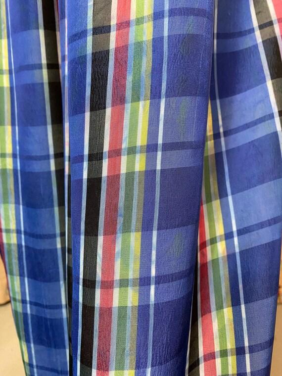 Vintage 1940s Skirt • Plaid Taffeta Blue Floor Le… - image 9