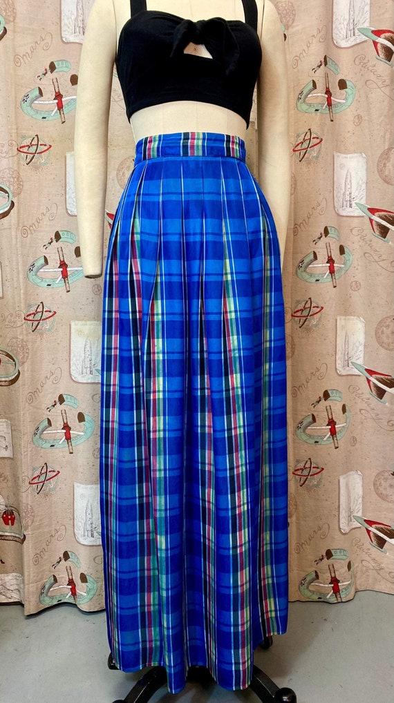 Vintage 1940s Skirt • Plaid Taffeta Blue Floor Le… - image 3