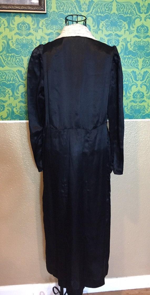 Vintage 1920s Dress • Black Silk White Ascot Day … - image 7
