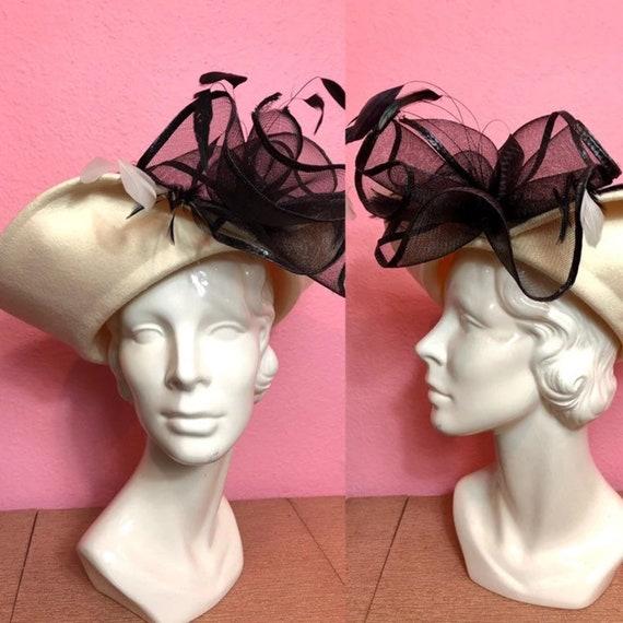 Vintage 1980s Hat • White and Black Formal Ladies
