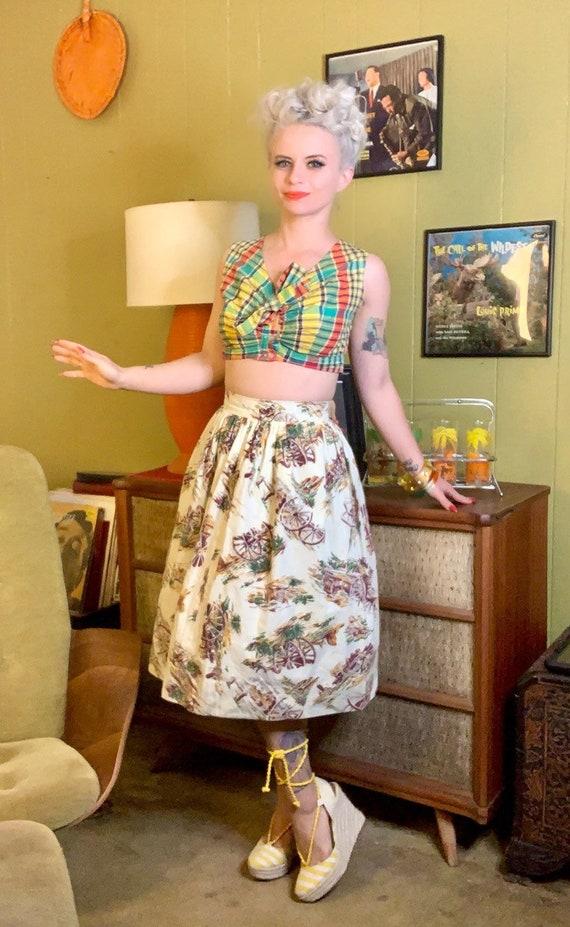 Vintage 1950s Skirt • Western Novelty Print Skirt… - image 2