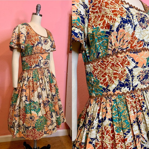 Vintage 1950s Dress • Bright Abstract Floral Print