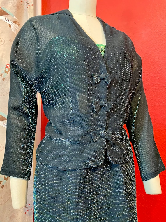 Vintage 1950s Suit • Green Iridescent & Black Lig… - image 6