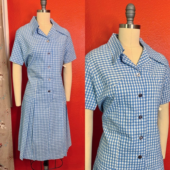 Vintage 1960s Dress • Deadstock Blue Gingham Day D