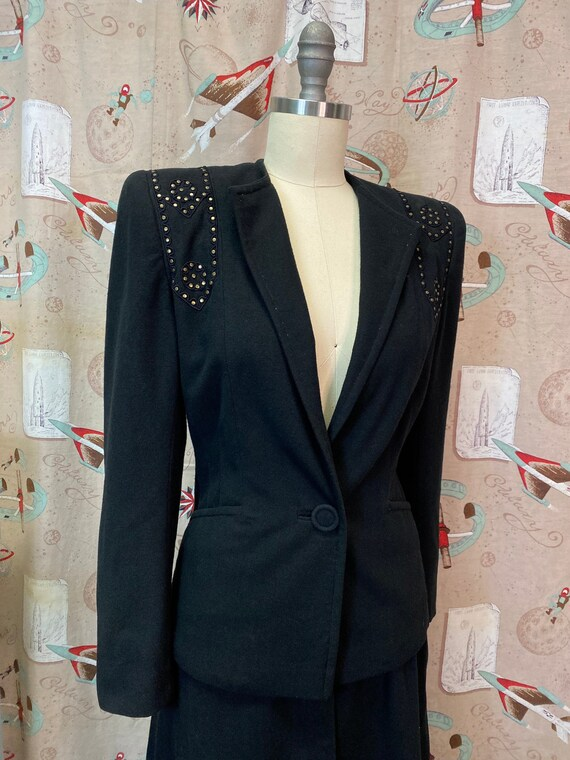 Vintage 1940s Suit • Black Studded Ladies Art Dec… - image 7