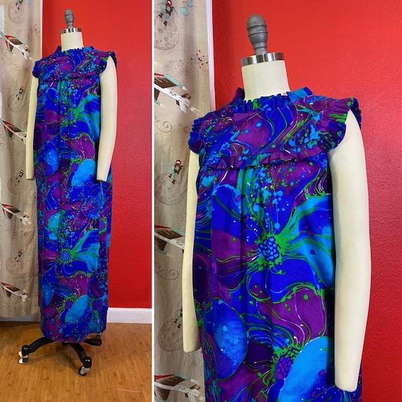 Vintage 1960s Dress • Psychedelic Purple Barkcloth
