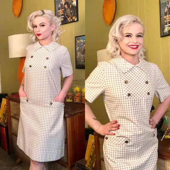 Vintage 1950s Dress • White & Brown Houndstooth D… - image 1