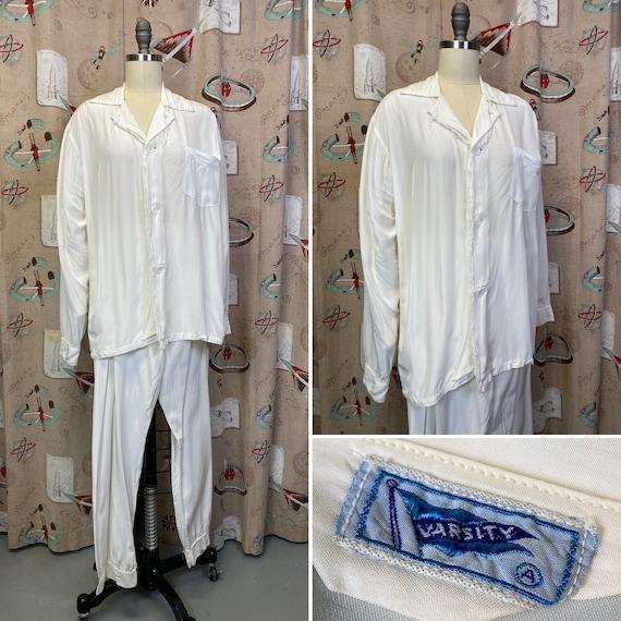 Vintage 1940s Pajamas • Rayon White Sleeping Shirt