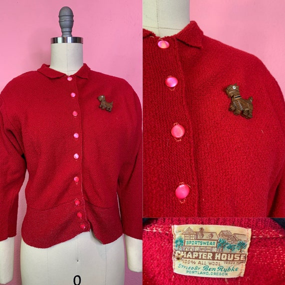 Vintage 1930s Cardigan • Cherry Red Batwing Sleeve