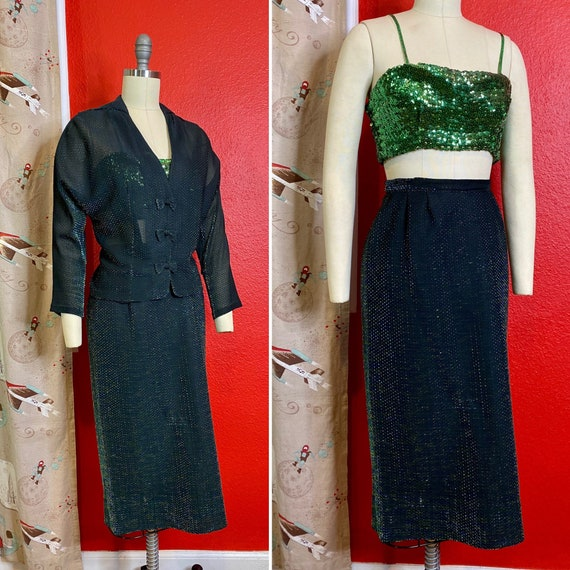 Vintage 1950s Suit • Green Iridescent & Black Ligh