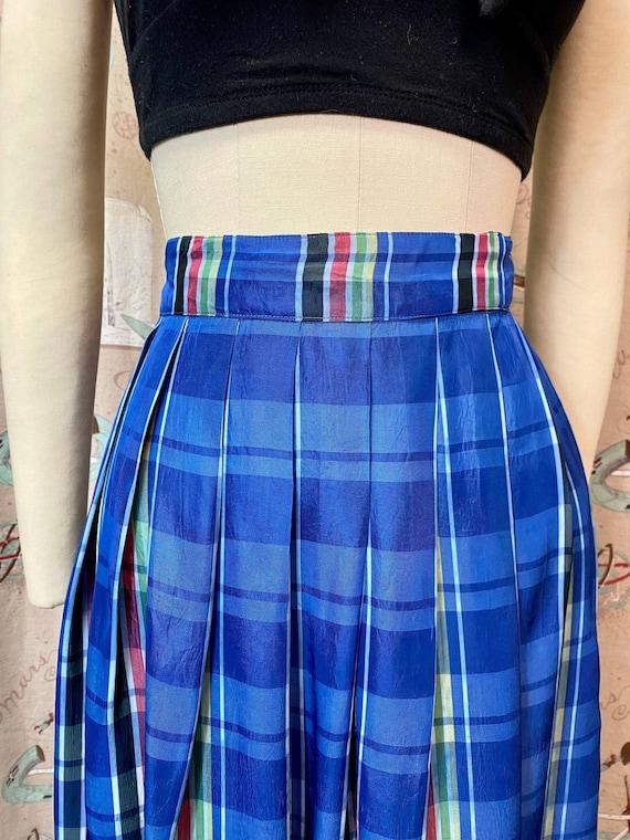 Vintage 1940s Skirt • Plaid Taffeta Blue Floor Le… - image 6