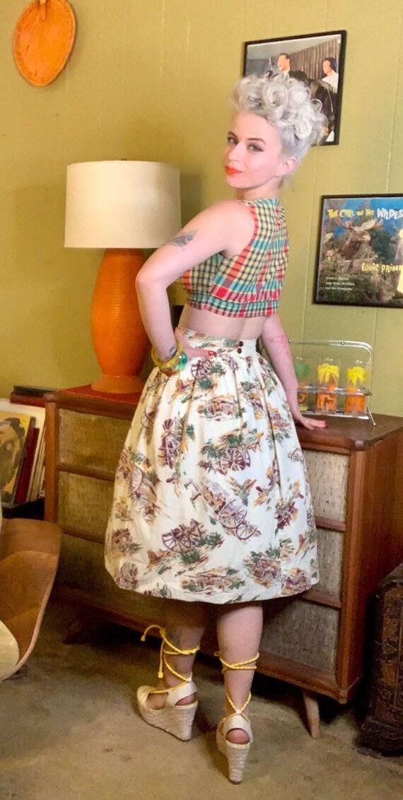 Vintage 1950s Skirt • Western Novelty Print Skirt… - image 4