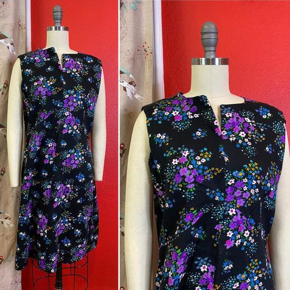 Vintage 1960s Dress • Black Floral Barkcloth Mini