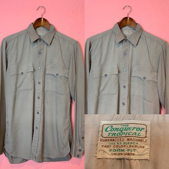 Vintage 1940s Shirt • Gray Gabardine Men's Work Sh