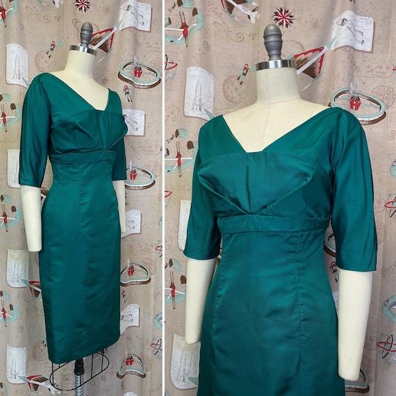 Vintage 1950s Dress • Emerald Green Wiggle Dress •