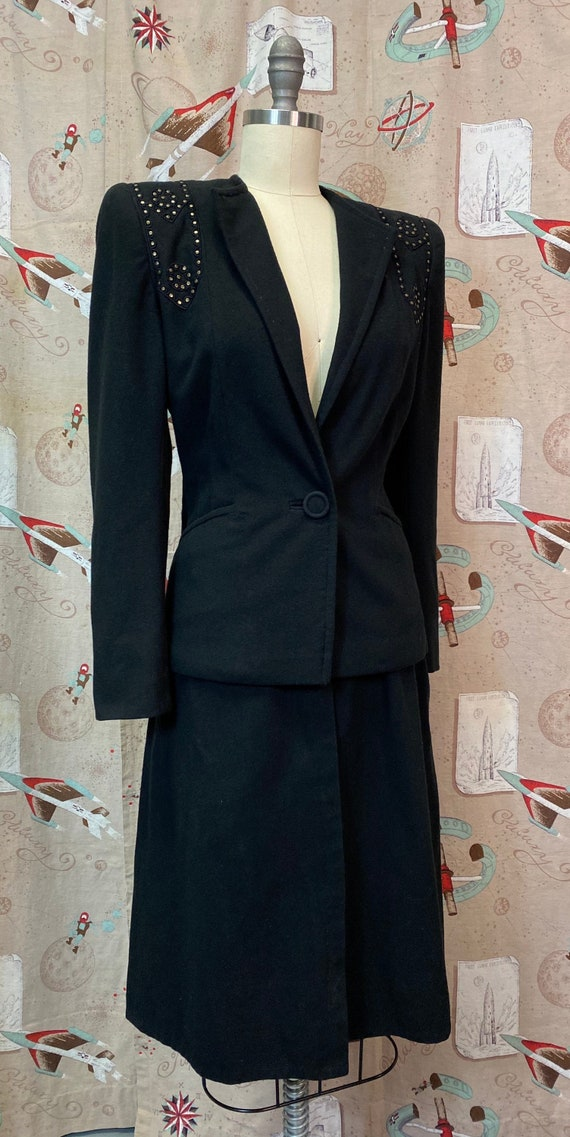Vintage 1940s Suit • Black Studded Ladies Art Dec… - image 2