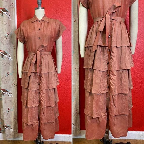 Vintage 1940s Dress • Dusty Rose Metallic Pink Ruf