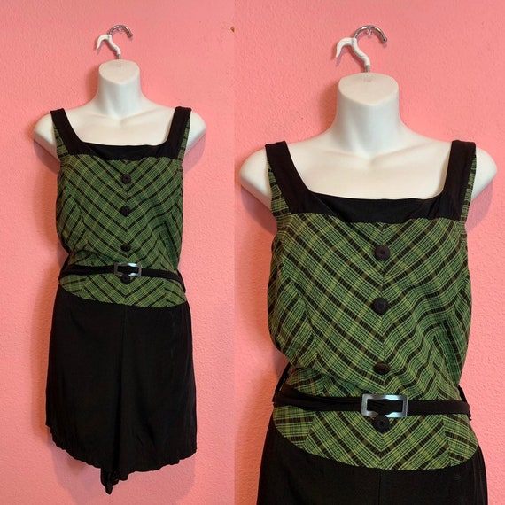Vintage 1940s to 1950s Swimsuit • Black & Green Pl