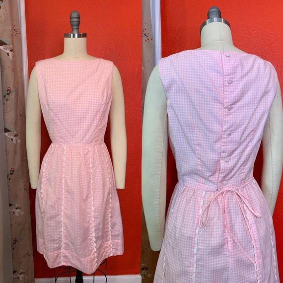 Vintage 1960s Dress • Pink Gingham Cotton Day Dres
