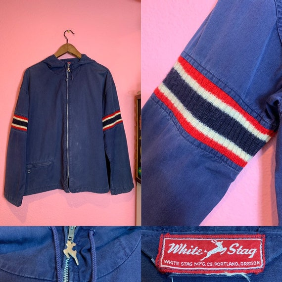 Vintage 1950s Jacket • Blue Hooded Rain Jacket wit