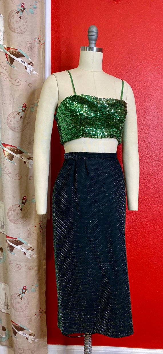 Vintage 1950s Suit • Green Iridescent & Black Lig… - image 4