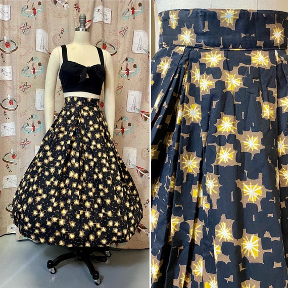 Vintage 1950s Skirt • Black Atomic Abstract Print