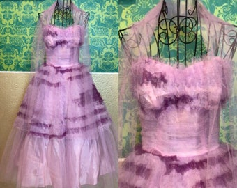 Vintage 1950s Dress - Purple and Perriwinkle Strapless Cupcake Dress
