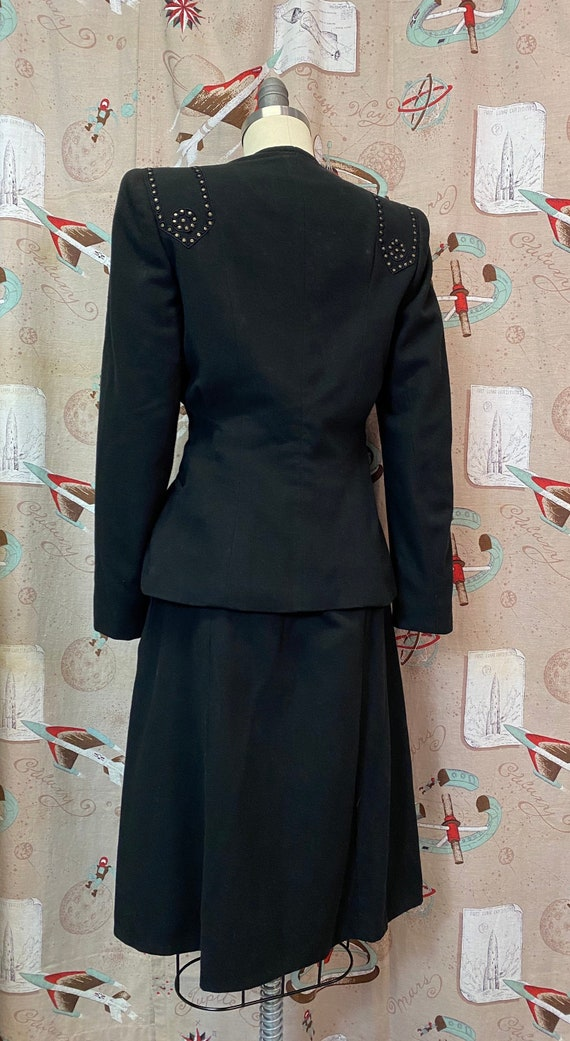 Vintage 1940s Suit • Black Studded Ladies Art Dec… - image 5