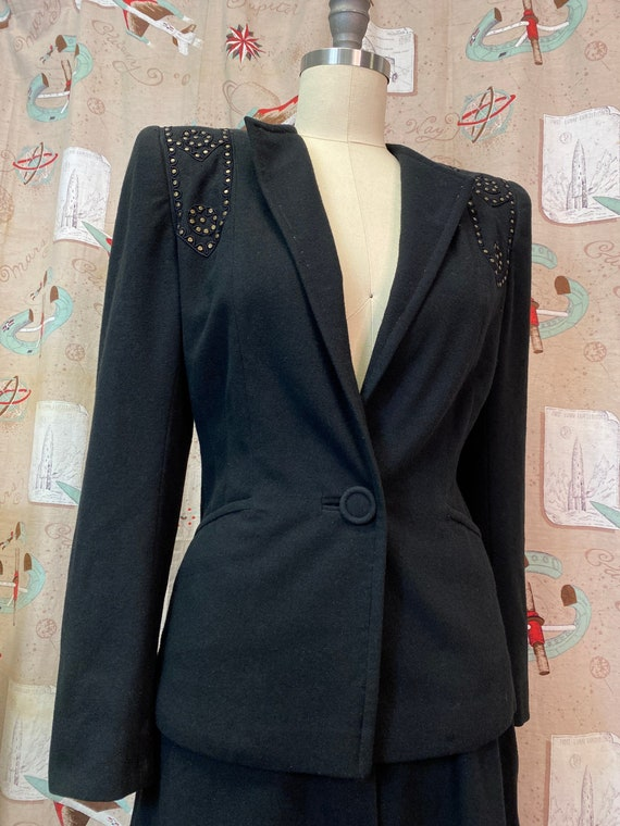 Vintage 1940s Suit • Black Studded Ladies Art Dec… - image 3
