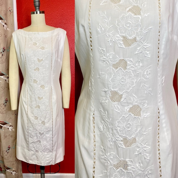 Vintage 1960s Dress • White Cotton Edwardian Lace