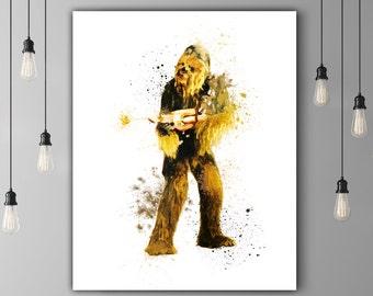 Star Wars Chewbacca, film cadeau, imprimable Decor mural Art numérique aquarelle graphiques Art, Star Wars Art Print Chewie Shooting Star Wars pistolet